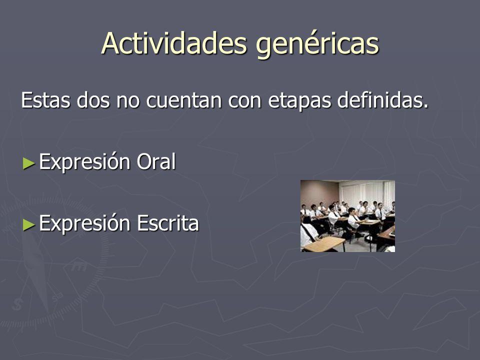 Actividades genéricas Estas dos no cuentan con etapas definidas. Expresión Oral Expresión Oral Expresión Escrita Expresión Escrita