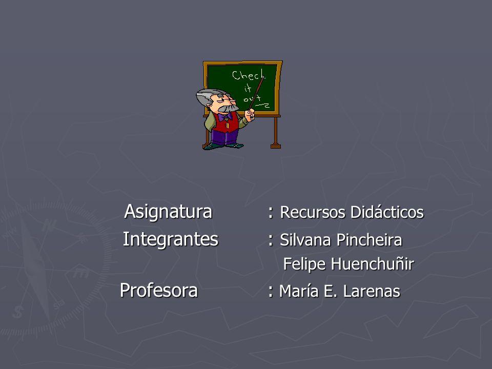 Asignatura: Recursos Didácticos Asignatura: Recursos Didácticos Integrantes: Silvana Pincheira Integrantes: Silvana Pincheira Felipe Huenchuñir Felipe