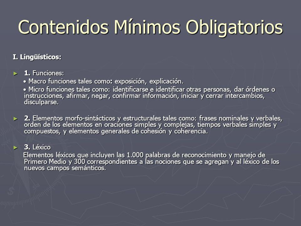 Contenidos Mínimos Obligatorios I. Lingüísticos: 1. Funciones: 1. Funciones: Macro funciones tales como: exposición, explicación. Macro funciones tale