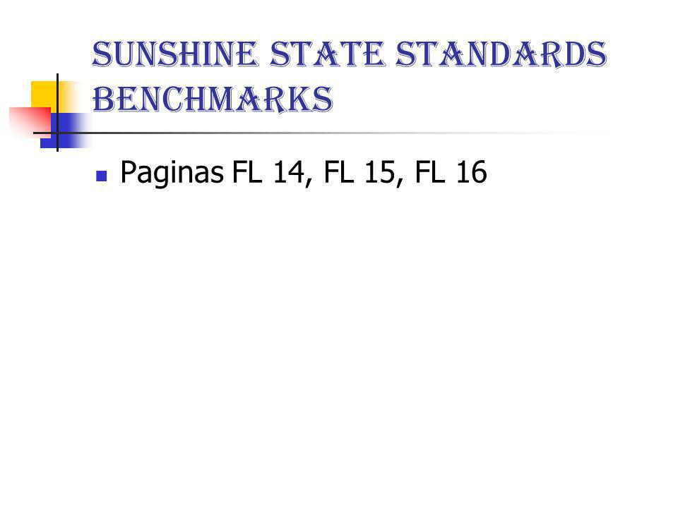 Sunshine State Standards Benchmarks Paginas FL 14, FL 15, FL 16