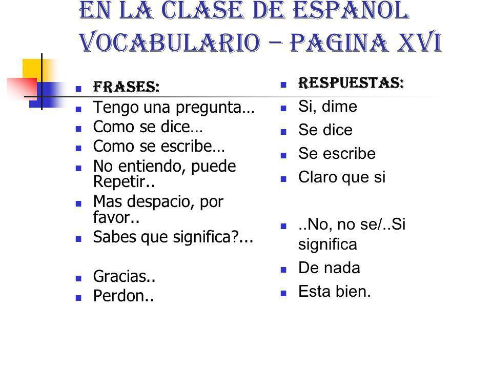 En La Clase de Español Vocabulario – pagina xvi Frases: Tengo una pregunta… Como se dice… Como se escribe… No entiendo, puede Repetir.. Mas despacio,