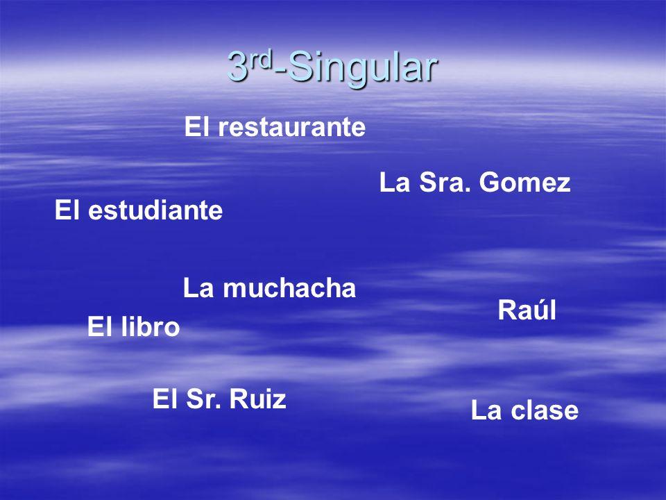 3 rd -Singular El estudiante El Sr. Ruiz La Sra. Gomez Raúl La muchacha La clase El restaurante El libro