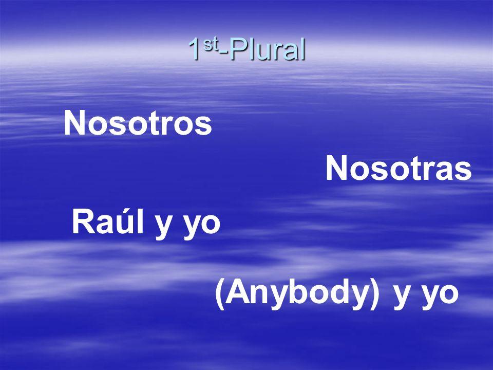 3 rd -Plural Los estudiantes Raúl y María Los señores Ruiz Mis amigos Los lápices María y tú Ustedes
