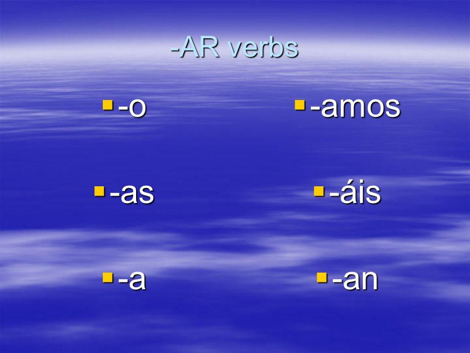 -AR verbs -o -o -as -as -a -a -amos -amos -áis -áis -an -an