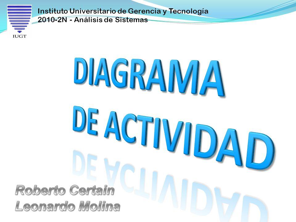 Instituto Universitario de Gerencia y Tecnología 2010-2N - Análisis de Sistemas Diagrama de actividad El diagrama de actividad es una especialización del diagrama de estado, organizado respecto de las acciones y usado para especificar: Un método Un caso de uso Un proceso de negocio