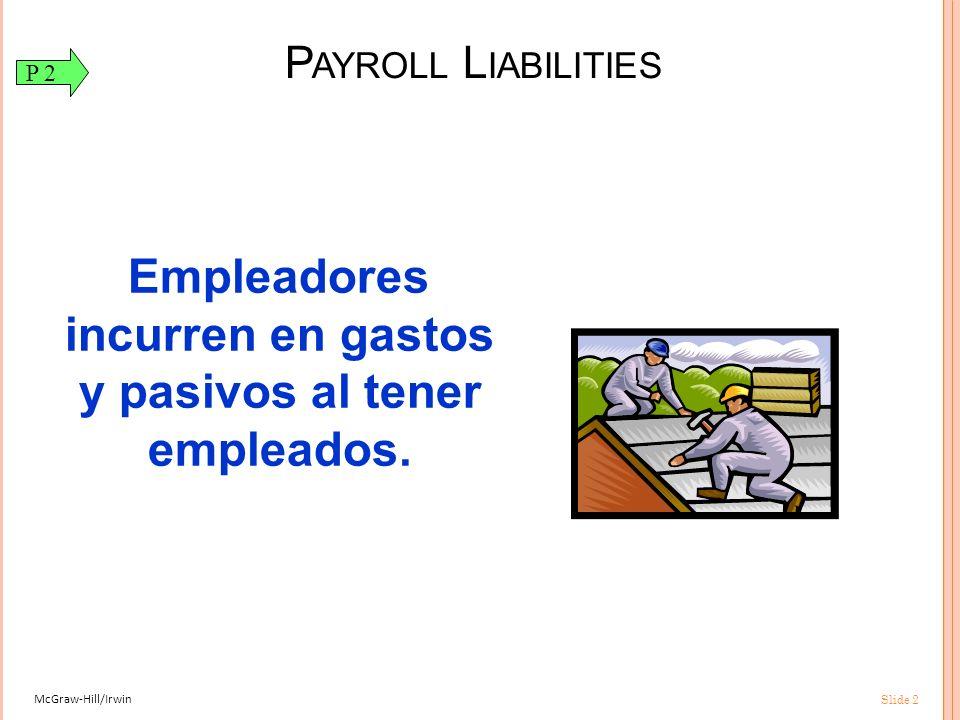 McGraw-Hill/Irwin Slide 2 Empleadores incurren en gastos y pasivos al tener empleados. P AYROLL L IABILITIES P 2