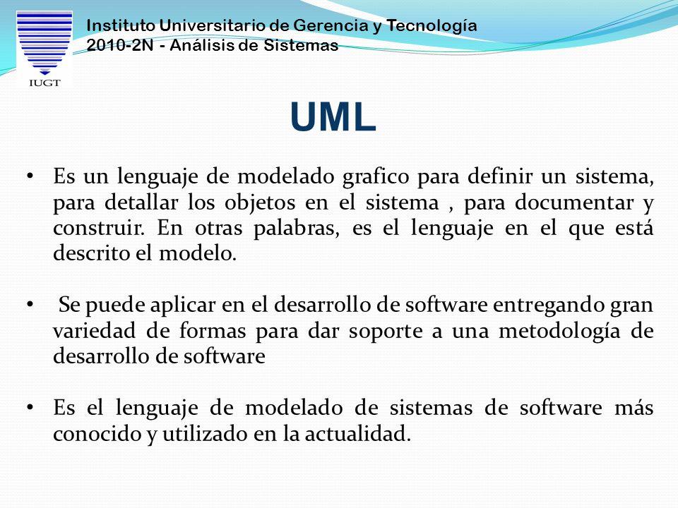 Instituto Universitario de Gerencia y Tecnología 2010-2N - Análisis de Sistemas Es un lenguaje de modelado grafico para definir un sistema, para detal
