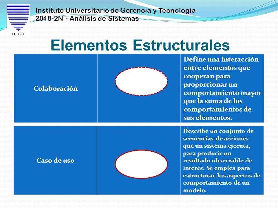 Instituto Universitario de Gerencia y Tecnología 2010-2N - Análisis de Sistemas Elementos Estructurales Colaboración Define una interacción entre elem