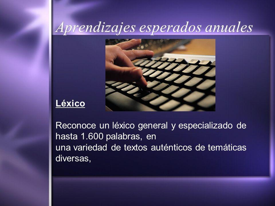 Aprendizajes esperados anuales Léxico Reconoce un léxico general y especializado de hasta 1.600 palabras, en una variedad de textos auténticos de temá