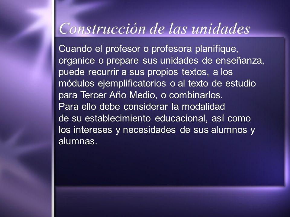 Construcción de las unidades Cuando el profesor o profesora planifique, organice o prepare sus unidades de enseñanza, puede recurrir a sus propios tex