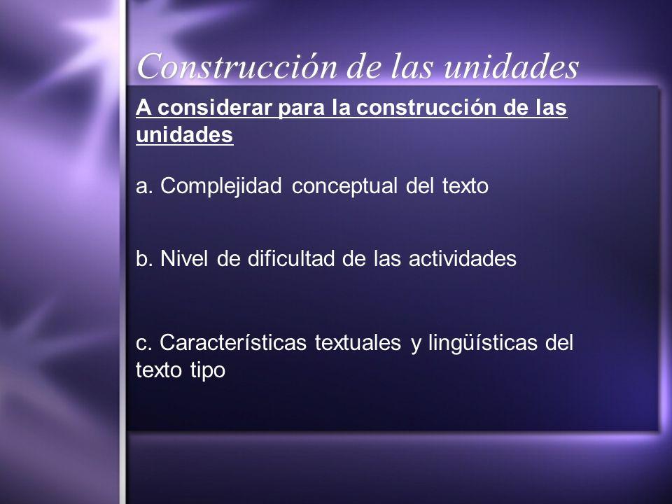 Construcción de las unidades a. Complejidad conceptual del texto b. Nivel de dificultad de las actividades c. Características textuales y lingüísticas