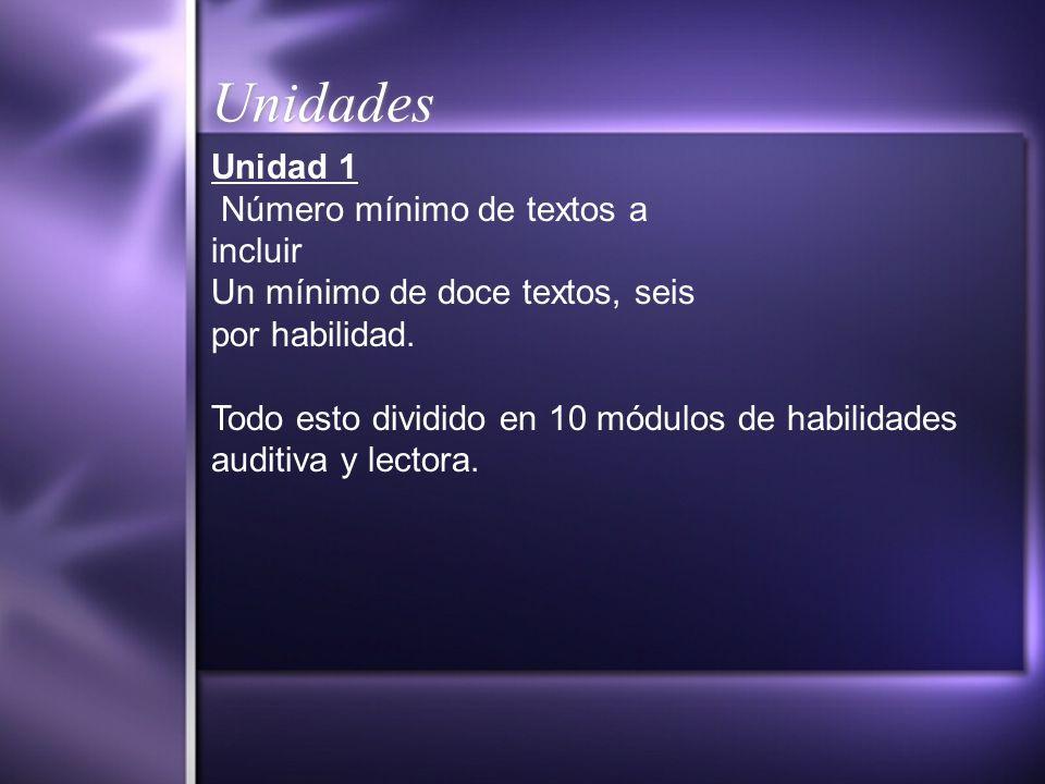 Unidades Unidad 1 Número mínimo de textos a incluir Un mínimo de doce textos, seis por habilidad. Todo esto dividido en 10 módulos de habilidades audi
