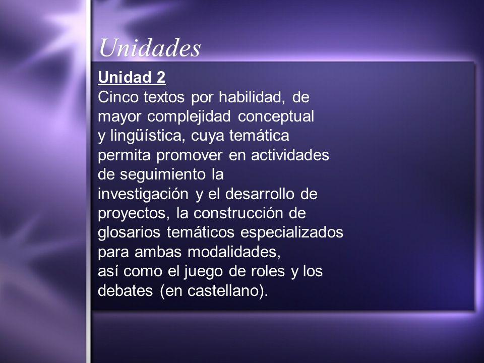 Unidades Unidad 2 Cinco textos por habilidad, de mayor complejidad conceptual y lingüística, cuya temática permita promover en actividades de seguimie