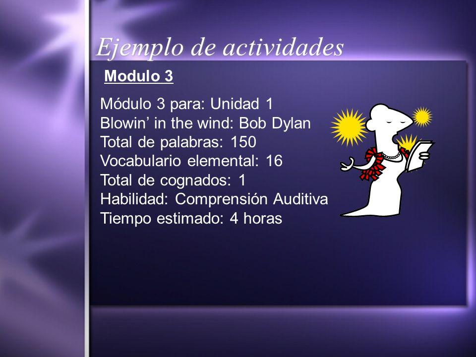 Ejemplo de actividades Modulo 3 Módulo 3 para: Unidad 1 Blowin in the wind: Bob Dylan Total de palabras: 150 Vocabulario elemental: 16 Total de cognad
