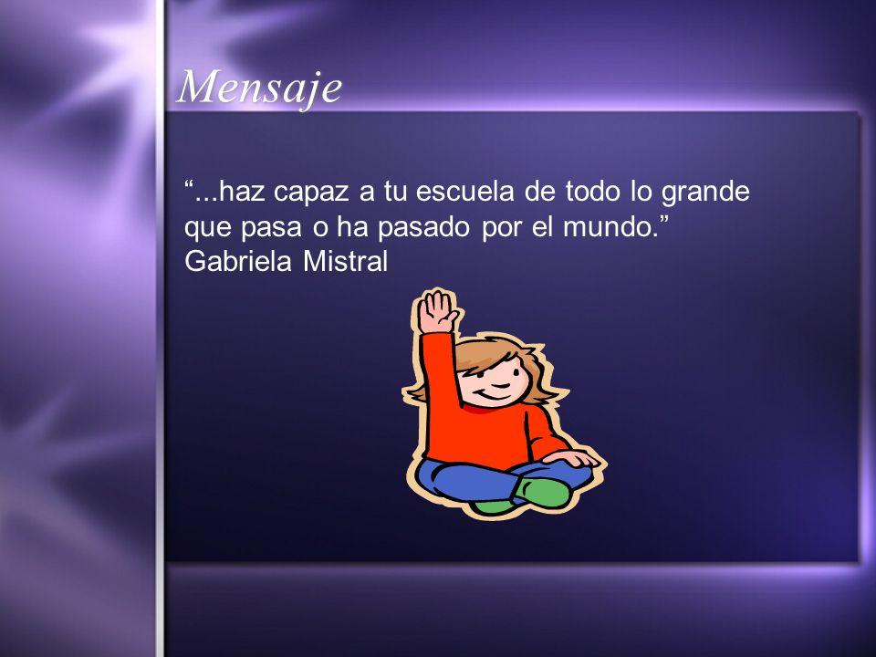 Mensaje...haz capaz a tu escuela de todo lo grande que pasa o ha pasado por el mundo. Gabriela Mistral