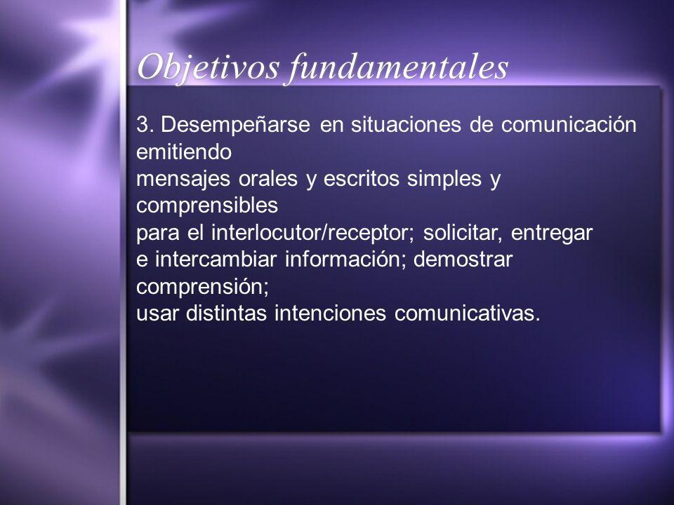 Objetivos fundamentales 3. Desempeñarse en situaciones de comunicación emitiendo mensajes orales y escritos simples y comprensibles para el interlocut