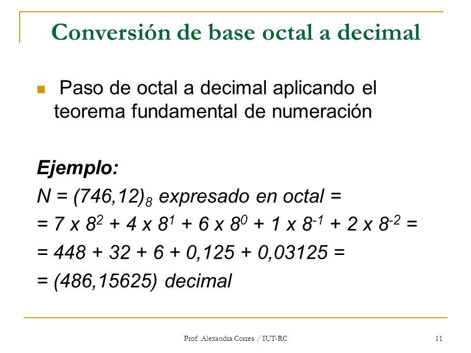 Prof. Alexandra Correa / IUT-RC 11 Conversión de base octal a decimal Paso de octal a decimal aplicando el teorema fundamental de numeración Ejemplo: