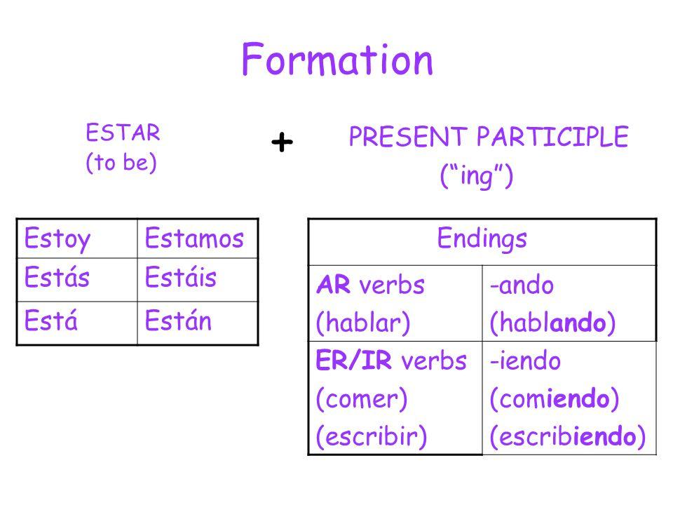 Formation ESTAR (to be) PRESENT PARTICIPLE (ing) + EstoyEstamos EstásEstáis EstáEstán Endings AR verbs (hablar) -ando (hablando) ER/IR verbs (comer) (