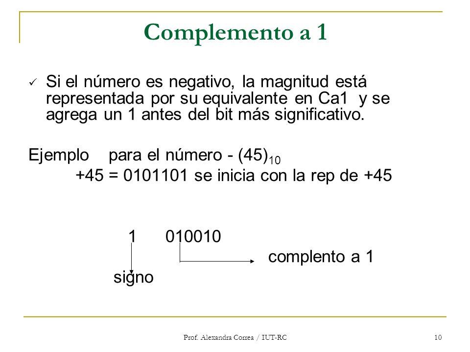 Prof. Alexandra Correa / IUT-RC 10 Complemento a 1 Si el número es negativo, la magnitud está representada por su equivalente en Ca1 y se agrega un 1