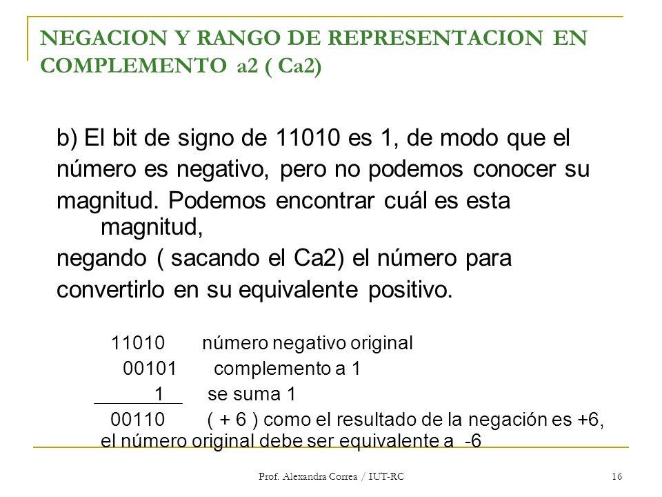 Prof. Alexandra Correa / IUT-RC 16 NEGACION Y RANGO DE REPRESENTACION EN COMPLEMENTO a2 ( Ca2) b) El bit de signo de 11010 es 1, de modo que el número