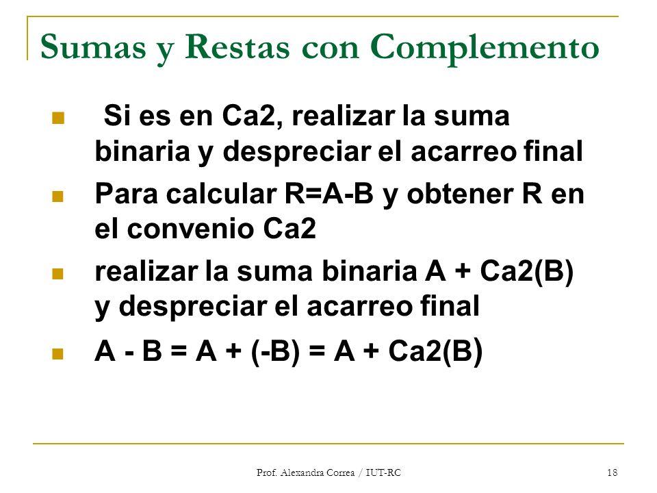 Prof. Alexandra Correa / IUT-RC 18 Sumas y Restas con Complemento Si es en Ca2, realizar la suma binaria y despreciar el acarreo final Para calcular R