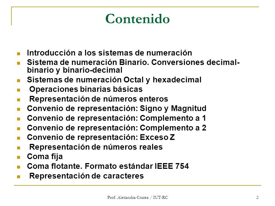 Prof. Alexandra Correa / IUT-RC 2 Contenido Introducción a los sistemas de numeración Sistema de numeración Binario. Conversiones decimal- binario y b