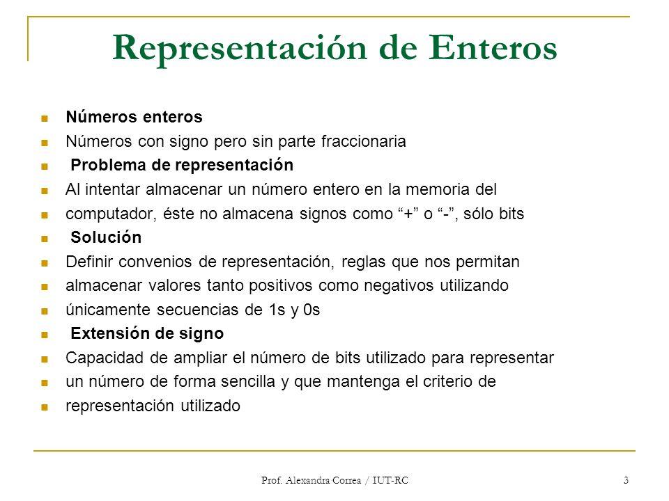 Prof. Alexandra Correa / IUT-RC 3 Representación de Enteros Números enteros Números con signo pero sin parte fraccionaria Problema de representación A