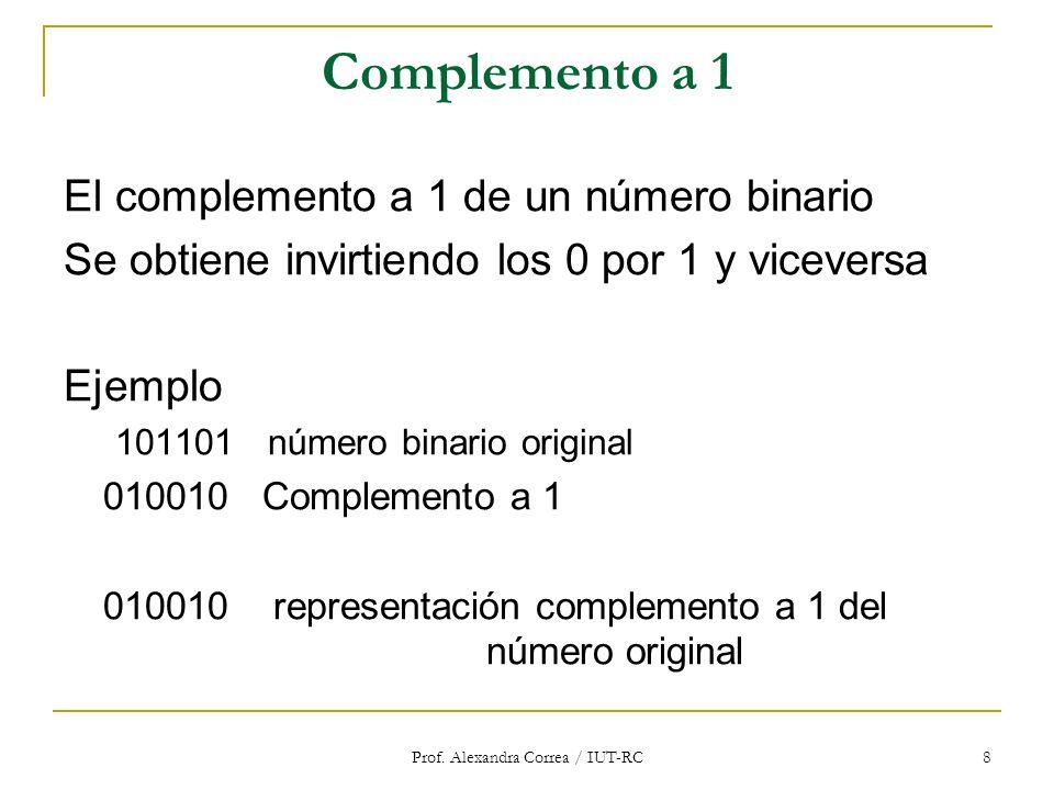 Prof. Alexandra Correa / IUT-RC 8 Complemento a 1 El complemento a 1 de un número binario Se obtiene invirtiendo los 0 por 1 y viceversa Ejemplo 10110