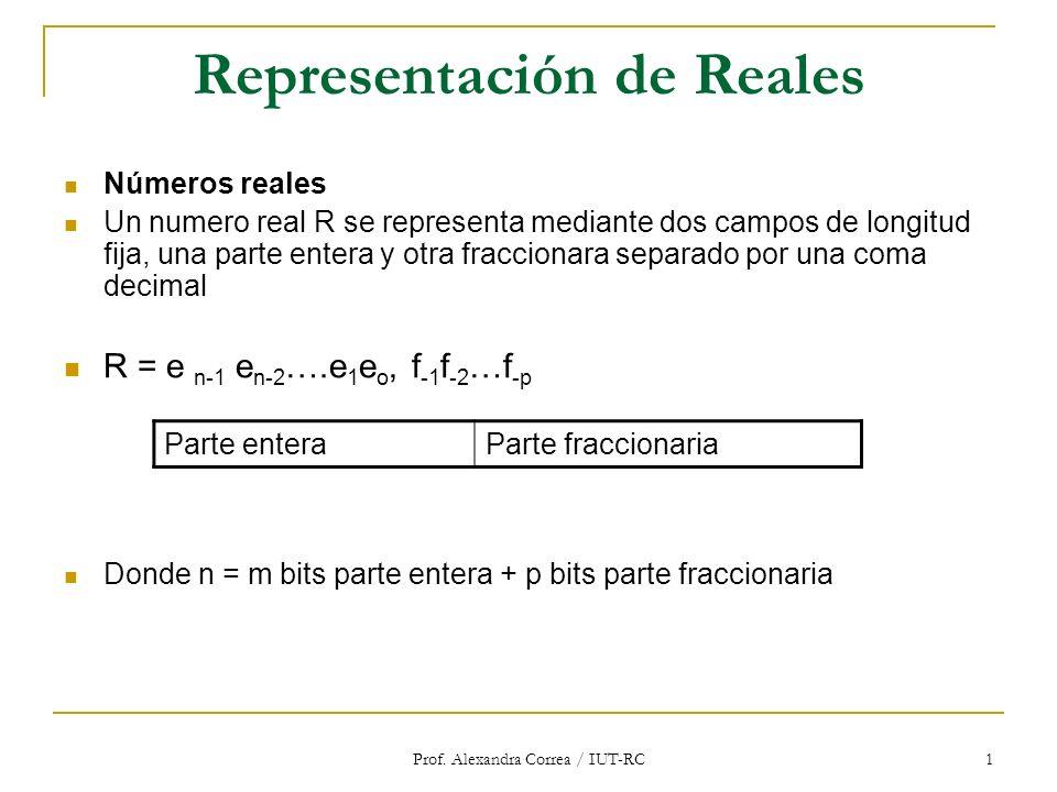 Prof. Alexandra Correa / IUT-RC 1 Representación de Reales Números reales Un numero real R se representa mediante dos campos de longitud fija, una par