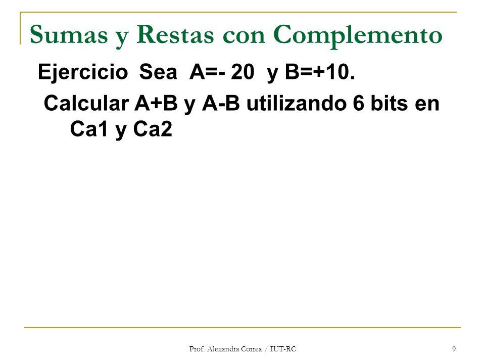 Prof. Alexandra Correa / IUT-RC 9 Sumas y Restas con Complemento Ejercicio Sea A=- 20 y B=+10. Calcular A+B y A-B utilizando 6 bits en Ca1 y Ca2