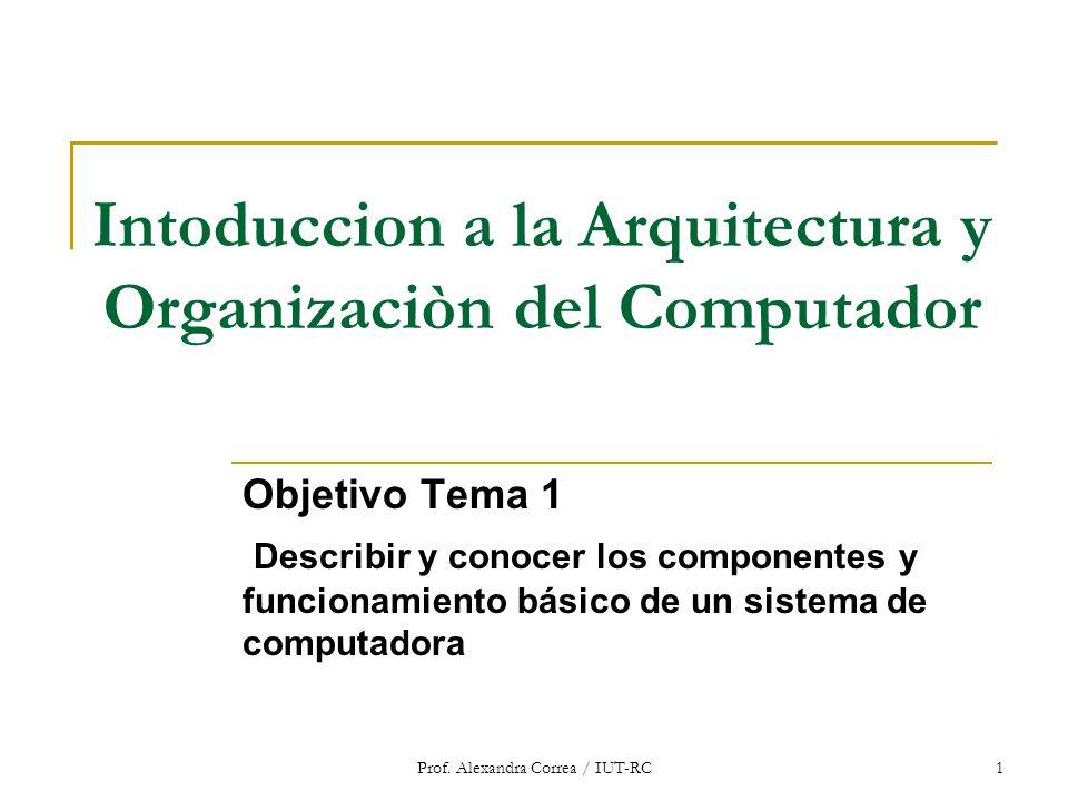 Prof. Alexandra Correa / IUT-RC1 Intoduccion a la Arquitectura y Organizaciòn del Computador Objetivo Tema 1 Describir y conocer los componentes y fun