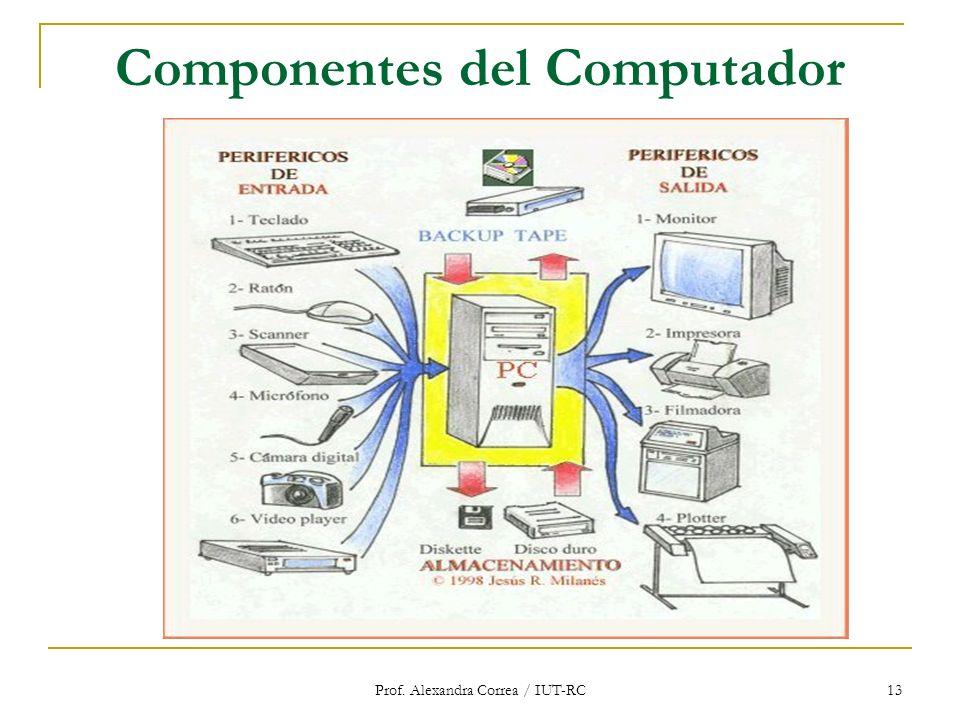 Prof. Alexandra Correa / IUT-RC 13 Componentes del Computador