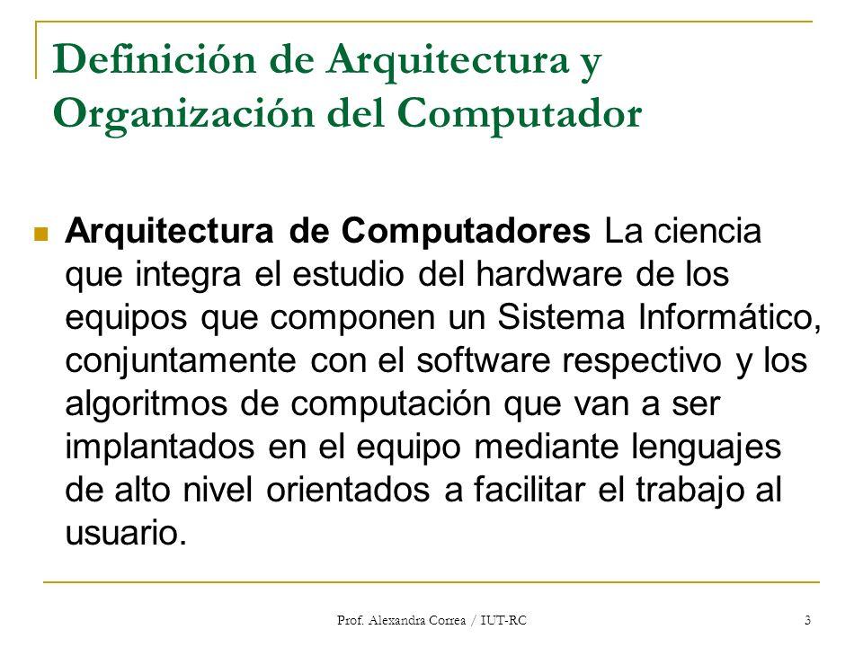 Prof. Alexandra Correa / IUT-RC 3 Definición de Arquitectura y Organización del Computador Arquitectura de Computadores La ciencia que integra el estu
