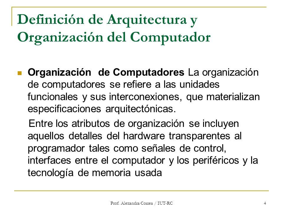 Prof. Alexandra Correa / IUT-RC 4 Definición de Arquitectura y Organización del Computador Organización de Computadores La organización de computadore