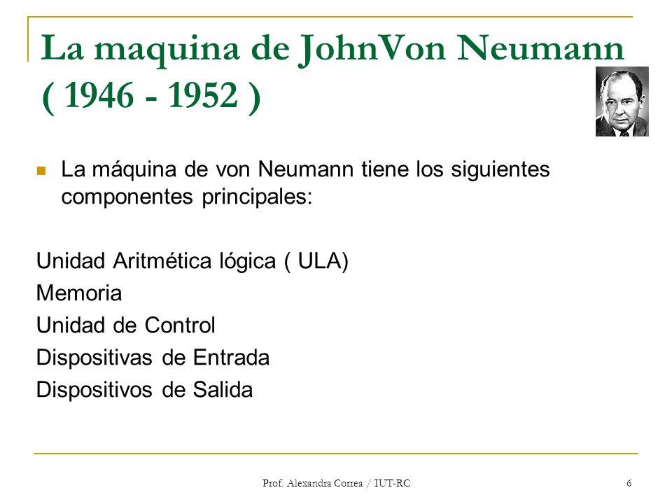 Prof. Alexandra Correa / IUT-RC 6 La maquina de JohnVon Neumann ( 1946 - 1952 ) La máquina de von Neumann tiene los siguientes componentes principales
