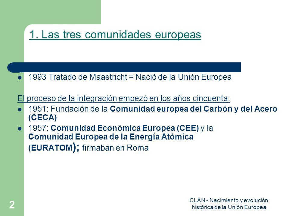 CLAN - Nacimiento y evolución histórica de la Unión Europea 2 1. Las tres comunidades europeas 1993 Tratado de Maastricht = Nació de la Unión Europea