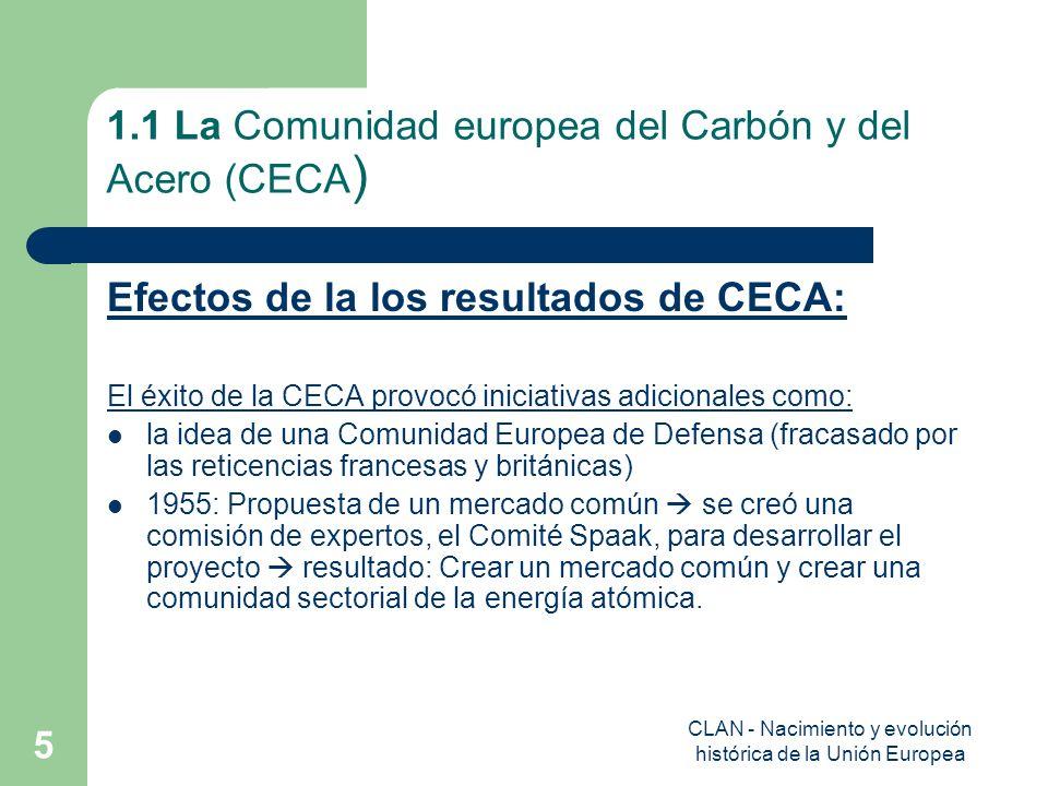 CLAN - Nacimiento y evolución histórica de la Unión Europea 5 1.1 La Comunidad europea del Carbón y del Acero (CECA ) Efectos de la los resultados de