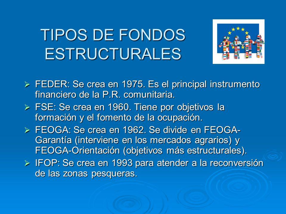 TIPOS DE FONDOS ESTRUCTURALES FEDER: Se crea en 1975. Es el principal instrumento financiero de la P.R. comunitaria. FEDER: Se crea en 1975. Es el pri