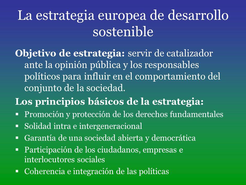 La estrategia europea de desarrollo sostenible Objetivo de estrategia: servir de catalizador ante la opinión pública y los responsables políticos para