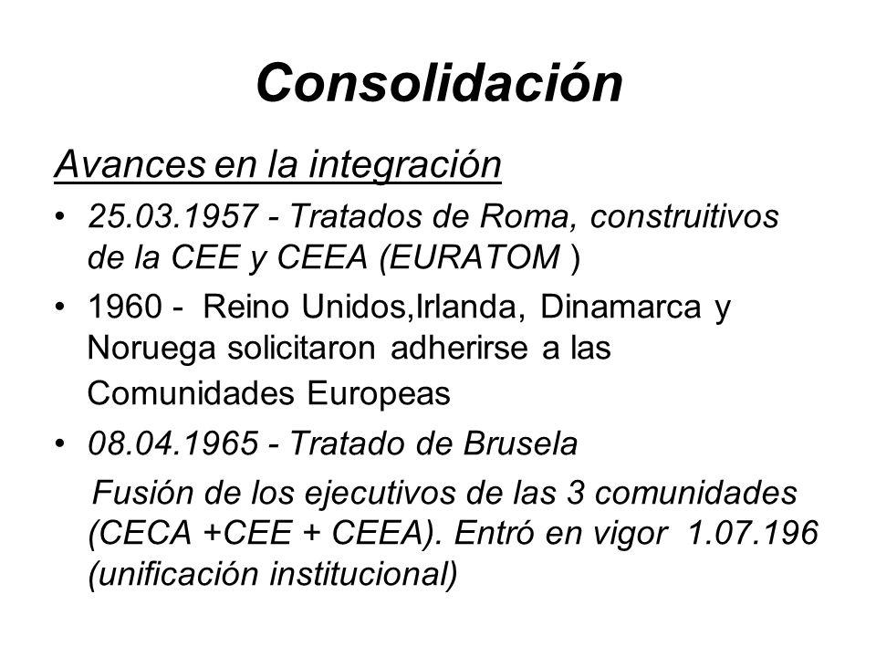 Consolidación Avances en la integración 25.03.1957 - Tratados de Roma, construitivos de la CEE y CEEA (EURATOM ) 1960 - Reino Unidos,Irlanda, Dinamarca y Noruega solicitaron adherirse a las Comunidades Europeas 08.04.1965 - Tratado de Brusela Fusión de los ejecutivos de las 3 comunidades (CECA +CEE + CEEA).