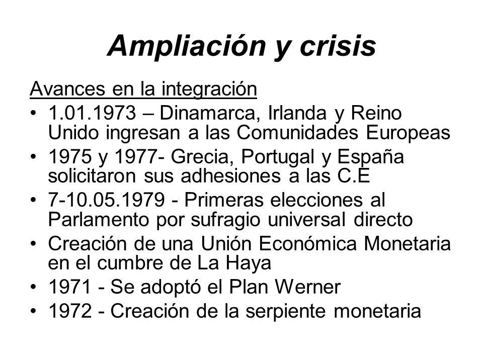 Ampliación y crisis Avances en la integración 1.01.1973 – Dinamarca, Irlanda y Reino Unido ingresan a las Comunidades Europeas 1975 y 1977- Grecia, Po