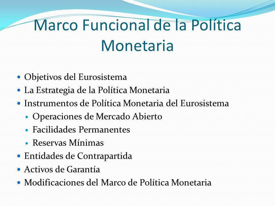 Marco Funcional de la Política Monetaria Objetivos del Eurosistema La Estrategia de la Política Monetaria Instrumentos de Política Monetaria del Euros