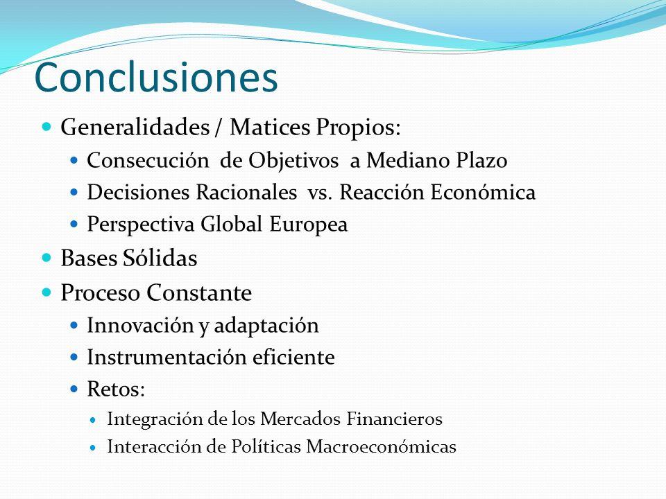 Conclusiones Generalidades / Matices Propios: Consecución de Objetivos a Mediano Plazo Decisiones Racionales vs. Reacción Económica Perspectiva Global