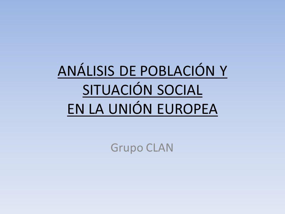 Densidad de Población Población Total: 497 millones Países más poblados: Alemania (82 millones, ) Francia (63 millones) Reino Unido (61 millones) Italia (59 millones) España (45 millones)
