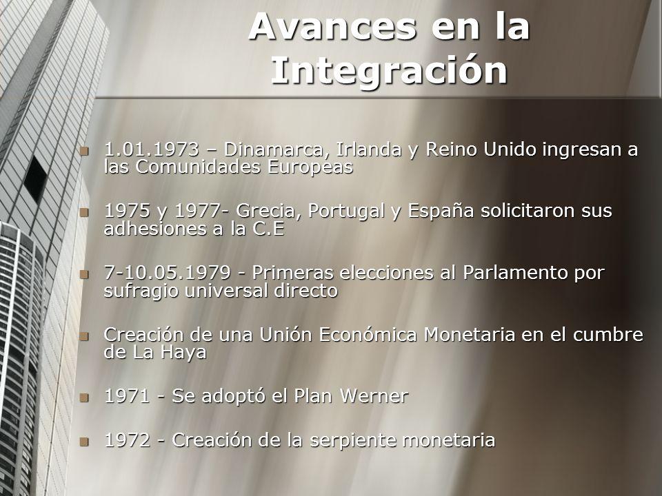 Avances en la Integración 1.01.1973 – Dinamarca, Irlanda y Reino Unido ingresan a las Comunidades Europeas 1.01.1973 – Dinamarca, Irlanda y Reino Unid