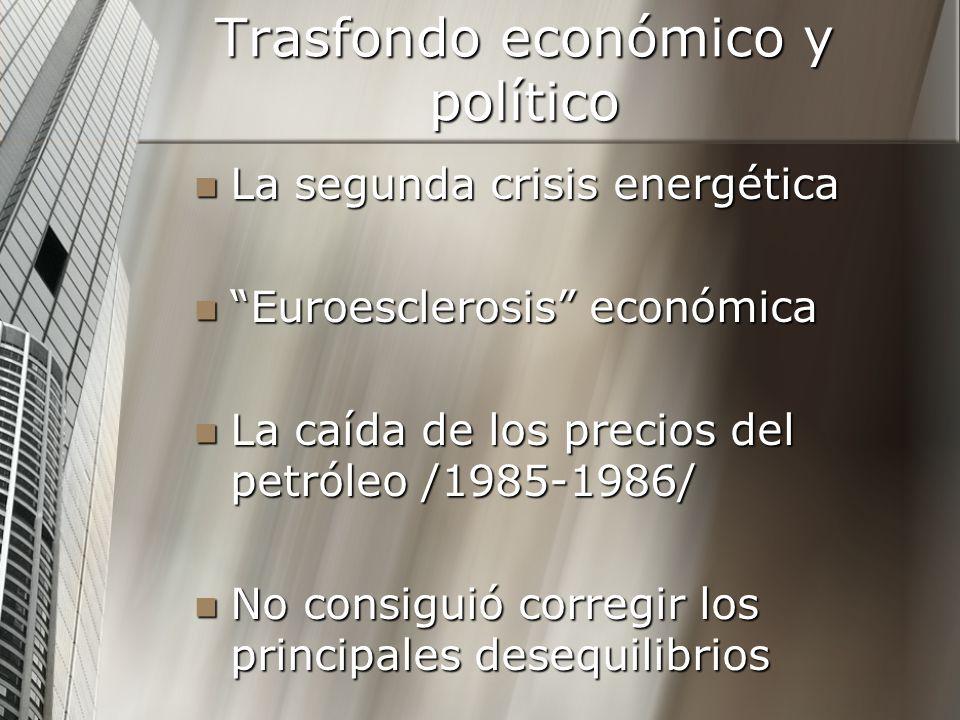 Trasfondo económico y político La segunda crisis energética La segunda crisis energética Euroesclerosis económica Euroesclerosis económica La caída de