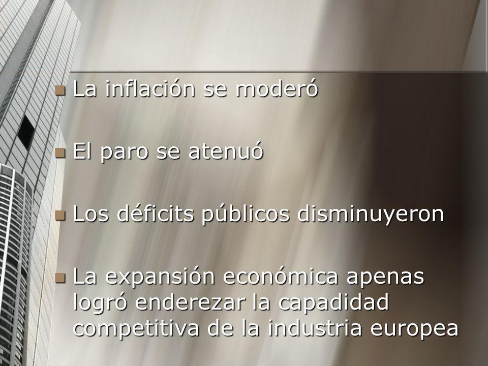 La inflación se moderó La inflación se moderó El paro se atenuó El paro se atenuó Los déficits públicos disminuyeron Los déficits públicos disminuyero