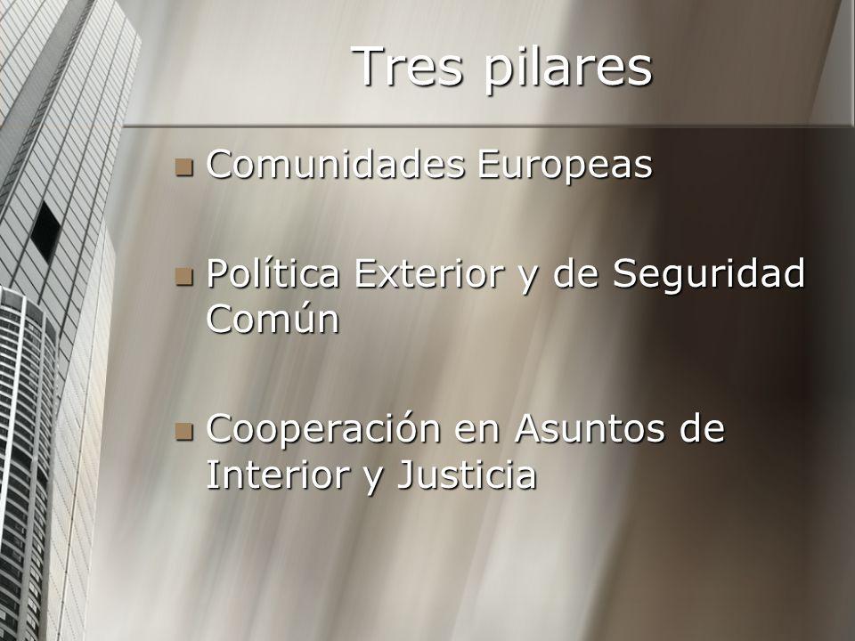 Tres pilares Comunidades Europeas Comunidades Europeas Política Exterior y de Seguridad Común Política Exterior y de Seguridad Común Cooperación en As