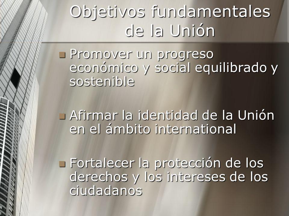 Objetivos fundamentales de la Unión Promover un progreso económico y social equilibrado y sostenible Promover un progreso económico y social equilibra