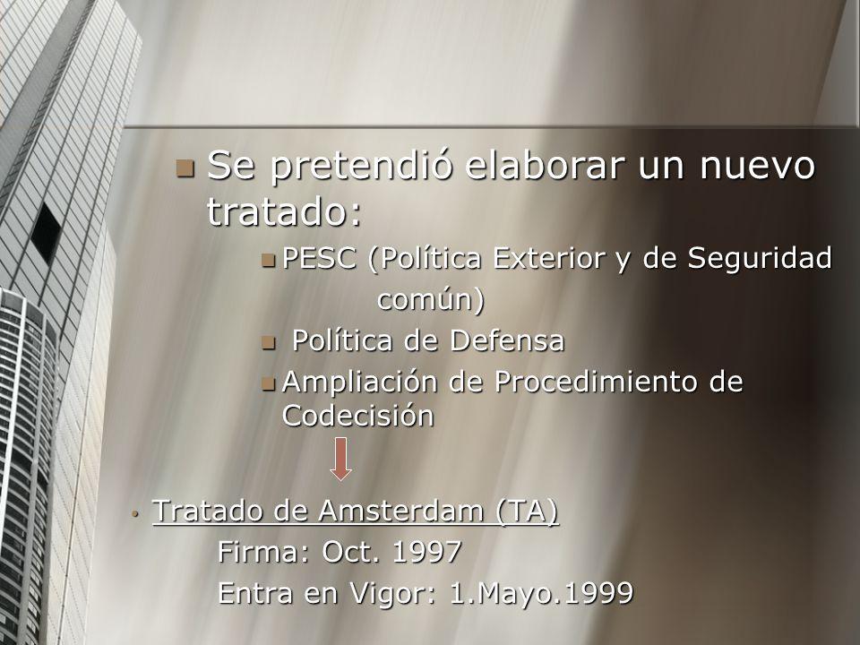 Se pretendió elaborar un nuevo tratado: Se pretendió elaborar un nuevo tratado: PESC (Política Exterior y de Seguridad PESC (Política Exterior y de Se